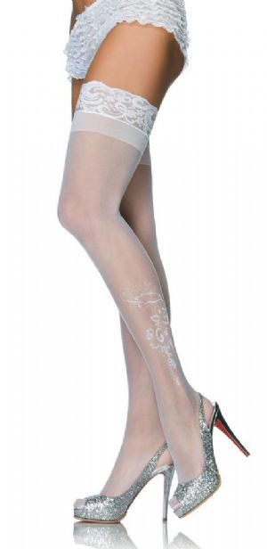 Ivory Holdup Stockings with Motif